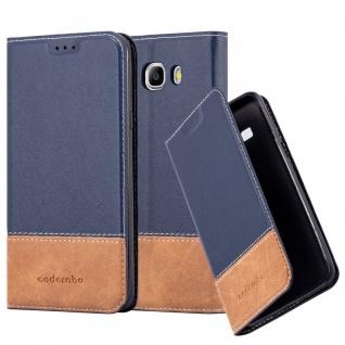 Cadorabo Hülle für Samsung Galaxy J7 2016 in BLAU BRAUN ? Handyhülle mit Magnetverschluss, Standfunktion und Kartenfach ? Case Cover Schutzhülle Etui Tasche Book Klapp Style