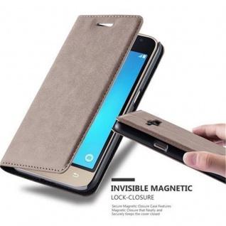 Cadorabo Hülle für Samsung Galaxy J1 2016 in KAFFEE BRAUN - Handyhülle mit Magnetverschluss, Standfunktion und Kartenfach - Case Cover Schutzhülle Etui Tasche Book Klapp Style