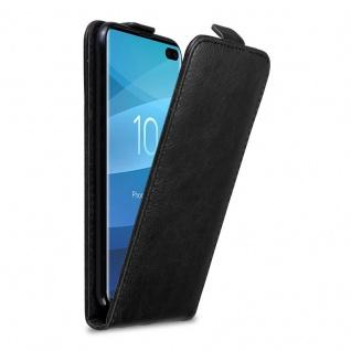 Cadorabo Hülle für Samsung Galaxy S10 PLUS in NACHT SCHWARZ - Handyhülle im Flip Design mit Magnetverschluss - Case Cover Schutzhülle Etui Tasche Book Klapp Style