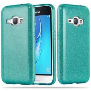 Cadorabo Hülle für Samsung Galaxy J1 2016 - Hülle in STERNENSTAUB TÜRKIS ? TPU Silikon und Hardcase Handyhülle im Glitzer Design - Hard Case TPU Silikon Schutzhülle