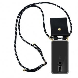 Cadorabo Handy Kette für Nokia 5.1 Plus in SCHWARZ SILBER Silikon Necklace Umhänge Hülle mit Gold Ringen, Kordel Band Schnur und abnehmbarem Etui Schutzhülle