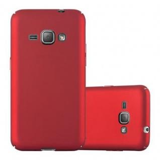 Cadorabo Hülle für Samsung Galaxy J1 2016 in METALL ROT - Hardcase Handyhülle aus Plastik gegen Kratzer und Stöße - Schutzhülle Bumper Ultra Slim Back Case Hard Cover