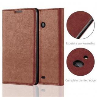 Cadorabo Hülle für Nokia Lumia 540 in CAPPUCCINO BRAUN - Handyhülle mit Magnetverschluss, Standfunktion und Kartenfach - Case Cover Schutzhülle Etui Tasche Book Klapp Style