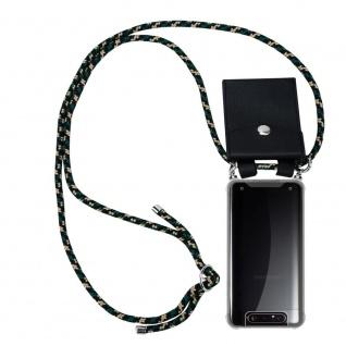 Cadorabo Handy Kette für Samsung Galaxy A80 / A90 in CAMOUFLAGE Silikon Necklace Umhänge Hülle mit Silber Ringen, Kordel Band Schnur und abnehmbarem Etui Schutzhülle