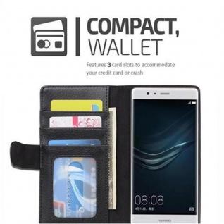 Cadorabo Hülle für Huawei P9 in OXID SCHWARZ ? Handyhülle mit Magnetverschluss und 3 Kartenfächern ? Case Cover Schutzhülle Etui Tasche Book Klapp Style - Vorschau 5