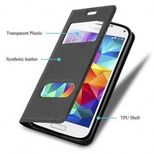 Cadorabo Hülle für Samsung Galaxy S5 / S5 NEO in KOMETEN SCHWARZ - Handyhülle mit Magnetverschluss, Standfunktion und 2 Sichtfenstern - Case Cover Schutzhülle Etui Tasche Book Klapp Style - Vorschau 3