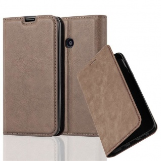 Cadorabo Hülle für Nokia Lumia 530 in KAFFEE BRAUN Handyhülle mit Magnetverschluss, Standfunktion und Kartenfach Case Cover Schutzhülle Etui Tasche Book Klapp Style