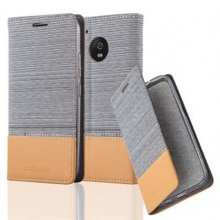 Cadorabo Hülle für Motorola MOTO G5 PLUS in HELL GRAU BRAUN - Handyhülle mit Magnetverschluss, Standfunktion und Kartenfach - Case Cover Schutzhülle Etui Tasche Book Klapp Style