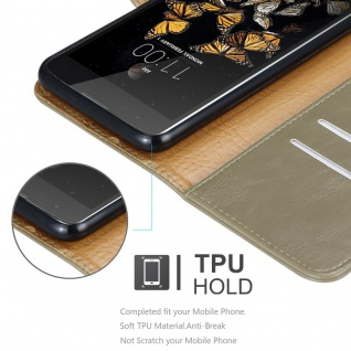 Cadorabo Hülle für LG K8 2016 in CAPPUCCINO BRAUN - Handyhülle mit Magnetverschluss, Standfunktion und Kartenfach - Case Cover Schutzhülle Etui Tasche Book Klapp Style - Vorschau 3