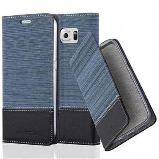 Cadorabo Hülle für Samsung Galaxy S6 in DUNKEL BLAU SCHWARZ - Handyhülle mit Magnetverschluss, Standfunktion und Kartenfach - Case Cover Schutzhülle Etui Tasche Book Klapp Style