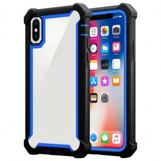 Cadorabo Hülle für Apple iPhone X / XS in BLAU SCHWARZ - 2-in-1 Handyhülle mit TPU Silikon-Rand und Acryl-Glas-Rücken - Schutzhülle Hybrid Hardcase Back Case