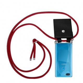 Cadorabo Handy Kette für Oppo A12 in RUBIN ROT Silikon Necklace Umhänge Hülle mit Silber Ringen, Kordel Band Schnur und abnehmbarem Etui Schutzhülle