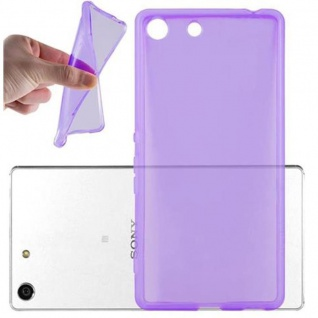 Cadorabo Hülle für Sony Xperia M5 in TRANSPARENT LILA - Handyhülle aus flexiblem TPU Silikon - Silikonhülle Schutzhülle Ultra Slim Soft Back Cover Case Bumper