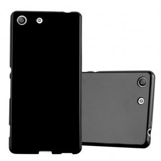 Cadorabo Hülle für Sony Xperia M5 in JELLY SCHWARZ - Handyhülle aus flexiblem TPU Silikon - Silikonhülle Schutzhülle Ultra Slim Soft Back Cover Case Bumper