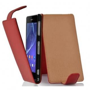 Cadorabo Hülle für Sony Xperia Z2 in INFERNO ROT - Handyhülle im Flip Design aus strukturiertem Kunstleder - Case Cover Schutzhülle Etui Tasche Book Klapp Style