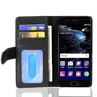Cadorabo Hülle für Huawei P10 in OXID SCHWARZ ? Handyhülle mit Magnetverschluss und 3 Kartenfächern ? Case Cover Schutzhülle Etui Tasche Book Klapp Style