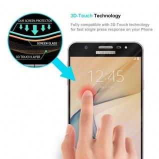 Cadorabo Vollbild Panzer Folie für Samsung Galaxy J7 PRIME / ON7 2016 - Schutzfolie in TRANSPARENT mit SCHWARZ - Gehärtetes (Tempered) Display-Schutzglas in 9H Härte mit 3D Touch Kompatibilität - Vorschau 5
