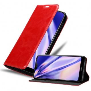 Cadorabo Hülle für Nokia 7.1 2018 in APFEL ROT Handyhülle mit Magnetverschluss, Standfunktion und Kartenfach Case Cover Schutzhülle Etui Tasche Book Klapp Style