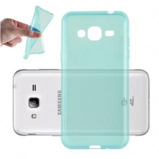 Cadorabo Hülle für Samsung Galaxy J3 2016 in TRANSPARENT BLAU - Handyhülle aus flexiblem TPU Silikon - Silikonhülle Schutzhülle Ultra Slim Soft Back Cover Case Bumper