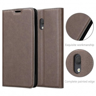 Cadorabo Hülle für Alcatel 1C 2019 in KAFFEE BRAUN - Handyhülle mit Magnetverschluss, Standfunktion und Kartenfach - Case Cover Schutzhülle Etui Tasche Book Klapp Style - Vorschau 5