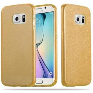 Cadorabo Hülle für Samsung Galaxy S6 EDGE - Hülle in STERNENSTAUB GOLD - TPU Silikon und Hardcase Handyhülle im Glitzer Design - Hard Case TPU Silikon Schutzhülle