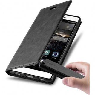 Cadorabo Hülle für Huawei P8 in NACHT SCHWARZ Handyhülle mit Magnetverschluss, Standfunktion und Kartenfach Case Cover Schutzhülle Etui Tasche Book Klapp Style