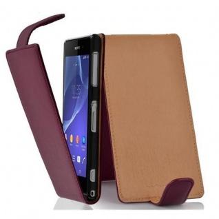 Cadorabo Hülle für Sony Xperia Z2 in BORDEAUX LILA - Handyhülle im Flip Design aus strukturiertem Kunstleder - Case Cover Schutzhülle Etui Tasche Book Klapp Style