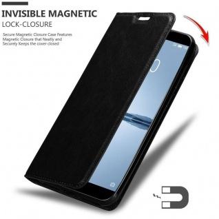 Cadorabo Hülle für MEIZU 15 in NACHT SCHWARZ - Handyhülle mit Magnetverschluss, Standfunktion und Kartenfach - Case Cover Schutzhülle Etui Tasche Book Klapp Style - Vorschau 3