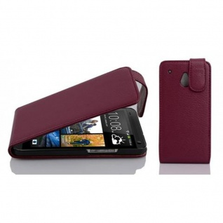 Cadorabo Hülle für HTC ONE M4 MINI in BORDEAUX LILA - Handyhülle im Flip Design aus strukturiertem Kunstleder - Case Cover Schutzhülle Etui Tasche Book Klapp Style