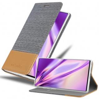 Cadorabo Hülle für Samsung Galaxy NOTE 10 PLUS in HELL GRAU BRAUN Handyhülle mit Magnetverschluss, Standfunktion und Kartenfach Case Cover Schutzhülle Etui Tasche Book Klapp Style