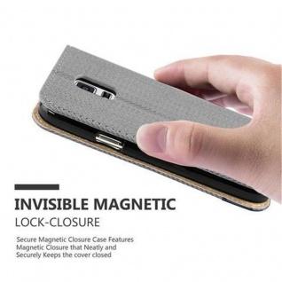 Cadorabo Hülle für Samsung Galaxy S5 MINI / S5 MINI DUOS - Hülle in GRAU BLAU - Handyhülle in Bast-Optik mit Kartenfach und Standfunktion - Case Cover Schutzhülle Etui Tasche Book Klapp Style - Vorschau 5