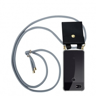 Cadorabo Handy Kette für Google Pixel 2 in SILBER GRAU - Silikon Necklace Umhänge Hülle mit Gold Ringen, Kordel Band Schnur und abnehmbarem Etui ? Schutzhülle