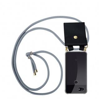 Cadorabo Handy Kette für Google Pixel 2 in SILBER GRAU Silikon Necklace Umhänge Hülle mit Gold Ringen, Kordel Band Schnur und abnehmbarem Etui Schutzhülle