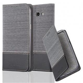 Cadorabo Hülle für Samsung Galaxy J3 2017 (US Version) in GRAU SCHWARZ - Handyhülle mit Magnetverschluss, Standfunktion und Kartenfach - Case Cover Schutzhülle Etui Tasche Book Klapp Style