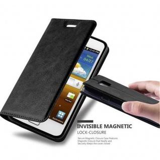Cadorabo Hülle für Samsung Galaxy S2 / S2 PLUS in NACHT SCHWARZ - Handyhülle mit Magnetverschluss, Standfunktion und Kartenfach - Case Cover Schutzhülle Etui Tasche Book Klapp Style