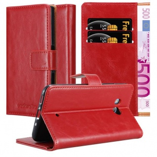 Cadorabo Hülle für HTC Ocean / U11 in WEIN ROT ? Handyhülle mit Magnetverschluss, Standfunktion und Kartenfach ? Case Cover Schutzhülle Etui Tasche Book Klapp Style