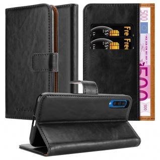 Cadorabo Hülle für Samsung Galaxy A50 in GRAPHIT SCHWARZ Handyhülle mit Magnetverschluss, Standfunktion und Kartenfach Case Cover Schutzhülle Etui Tasche Book Klapp Style