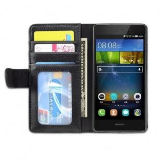 Cadorabo Hülle für Huawei P8 LITE 2015 in OXID SCHWARZ - Handyhülle mit Magnetverschluss und 3 Kartenfächern - Case Cover Schutzhülle Etui Tasche Book Klapp Style - Vorschau 3