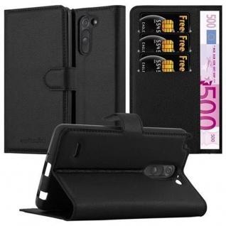 Cadorabo Hülle für LG G3 STYLUS in PHANTOM SCHWARZ ? Handyhülle mit Magnetverschluss und 3 Kartenfächern ? Case Cover Schutzhülle Etui Tasche Book Klapp Style