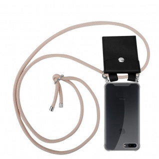 Cadorabo Handy Kette für Apple iPhone 8 PLUS / 7 PLUS / 7S PLUS in PERLIG ROSÉGOLD - Silikon Necklace Umhänge Hülle mit Silber Ringen, Kordel Band Schnur und abnehmbarem Etui - Schutzhülle