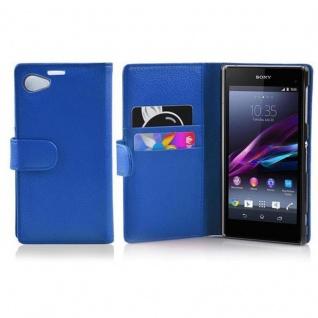 Cadorabo Hülle für Sony Xperia Z1 COMPACT in KÖNIGS BLAU - Handyhülle aus strukturiertem Kunstleder mit Standfunktion und Kartenfach - Case Cover Schutzhülle Etui Tasche Book Klapp Style