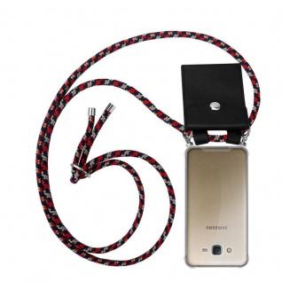 Cadorabo Handy Kette für Samsung Galaxy J7 2015 in ROT BLAU GELB - Silikon Necklace Umhänge Hülle mit Silber Ringen, Kordel Band Schnur und abnehmbarem Etui - Schutzhülle
