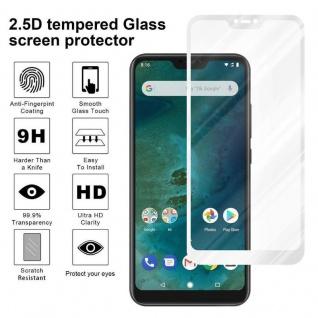 Cadorabo Vollbild Panzer Folie für Xiaomi Mi A2 LITE / RedMi 6 PRO - Schutzfolie in TRANSPARENT mit WEISS - Gehärtetes (Tempered) Display-Schutzglas in 9H Härte mit 3D Touch Kompatibilität - Vorschau 4