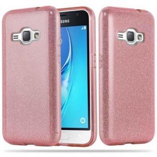 Cadorabo Hülle für Samsung Galaxy J1 2016 - Hülle in STERNENSTAUB PINK ? TPU Silikon und Hardcase Handyhülle im Glitzer Design - Hard Case TPU Silikon Schutzhülle