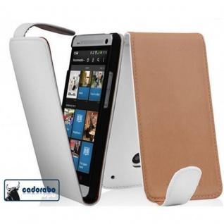 Cadorabo Hülle für HTC ONE MINI M4 in POLAR WEIß - Handyhülle im Flip Design aus glattem Kunstleder - Case Cover Schutzhülle Etui Tasche Book Klapp Style