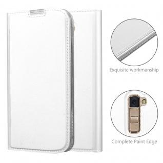 Cadorabo Hülle für LG K10 2016 in CLASSY SILBER - Handyhülle mit Magnetverschluss, Standfunktion und Kartenfach - Case Cover Schutzhülle Etui Tasche Book Klapp Style - Vorschau 5