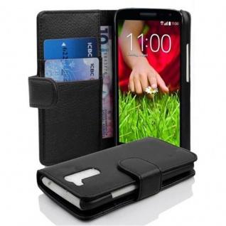 Cadorabo Hülle für LG G2 MINI - Hülle in OXID SCHWARZ ? Handyhülle mit Kartenfach aus struktriertem Kunstleder - Case Cover Schutzhülle Etui Tasche Book Klapp Style