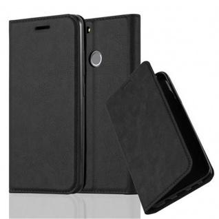 Cadorabo Hülle für Huawei NOVA in NACHT SCHWARZ - Handyhülle mit Magnetverschluss, Standfunktion und Kartenfach - Case Cover Schutzhülle Etui Tasche Book Klapp Style