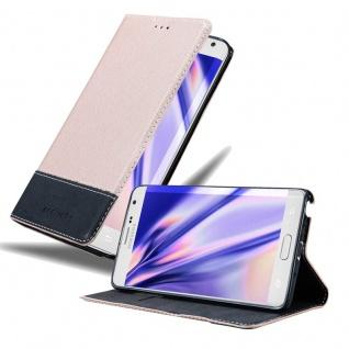 Cadorabo Hülle für Samsung Galaxy NOTE EDGE in ROSÉ GOLD SCHWARZ Handyhülle mit Magnetverschluss, Standfunktion und Kartenfach Case Cover Schutzhülle Etui Tasche Book Klapp Style