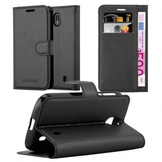 Cadorabo Hülle für Nokia 1 2017 in PHANTOM SCHWARZ Handyhülle mit Magnetverschluss, Standfunktion und Kartenfach Case Cover Schutzhülle Etui Tasche Book Klapp Style